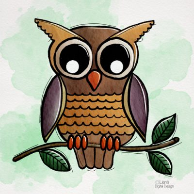 Uil Owl hand drawn